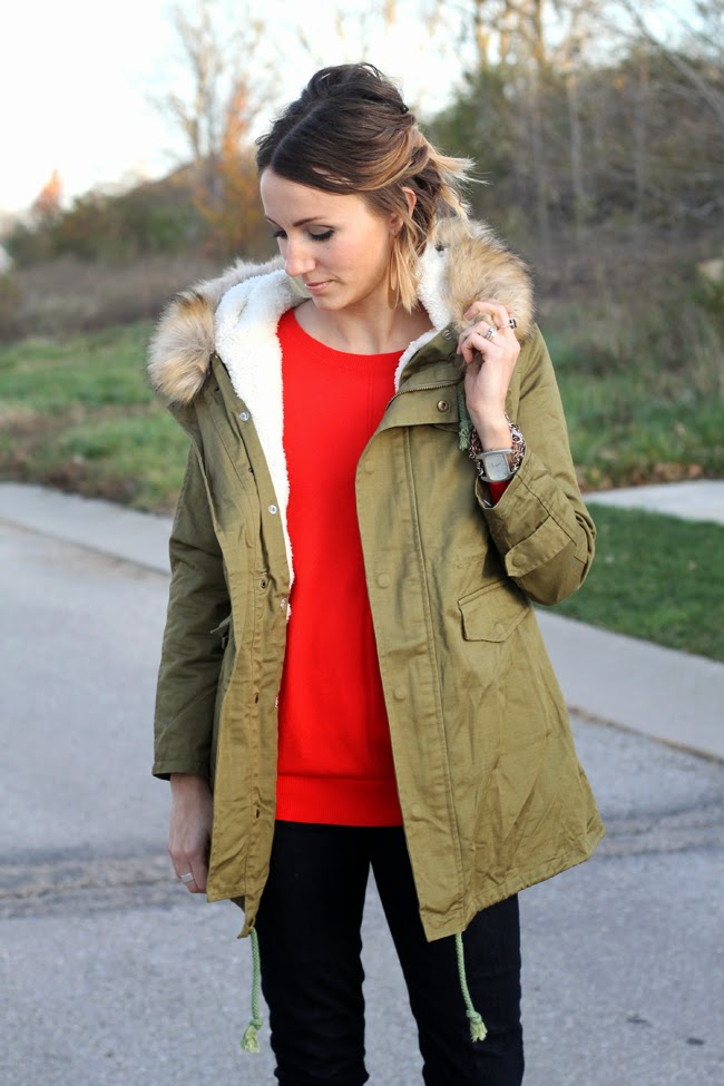 ONE little MOMMA- Green parka, red tunic, vintage boots
