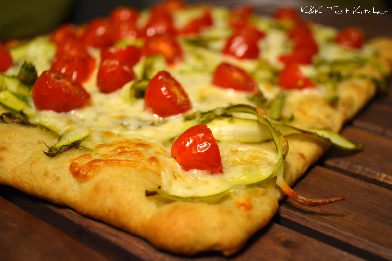 Test Kitchen: Asparagus and Cherry Tomato Pizza