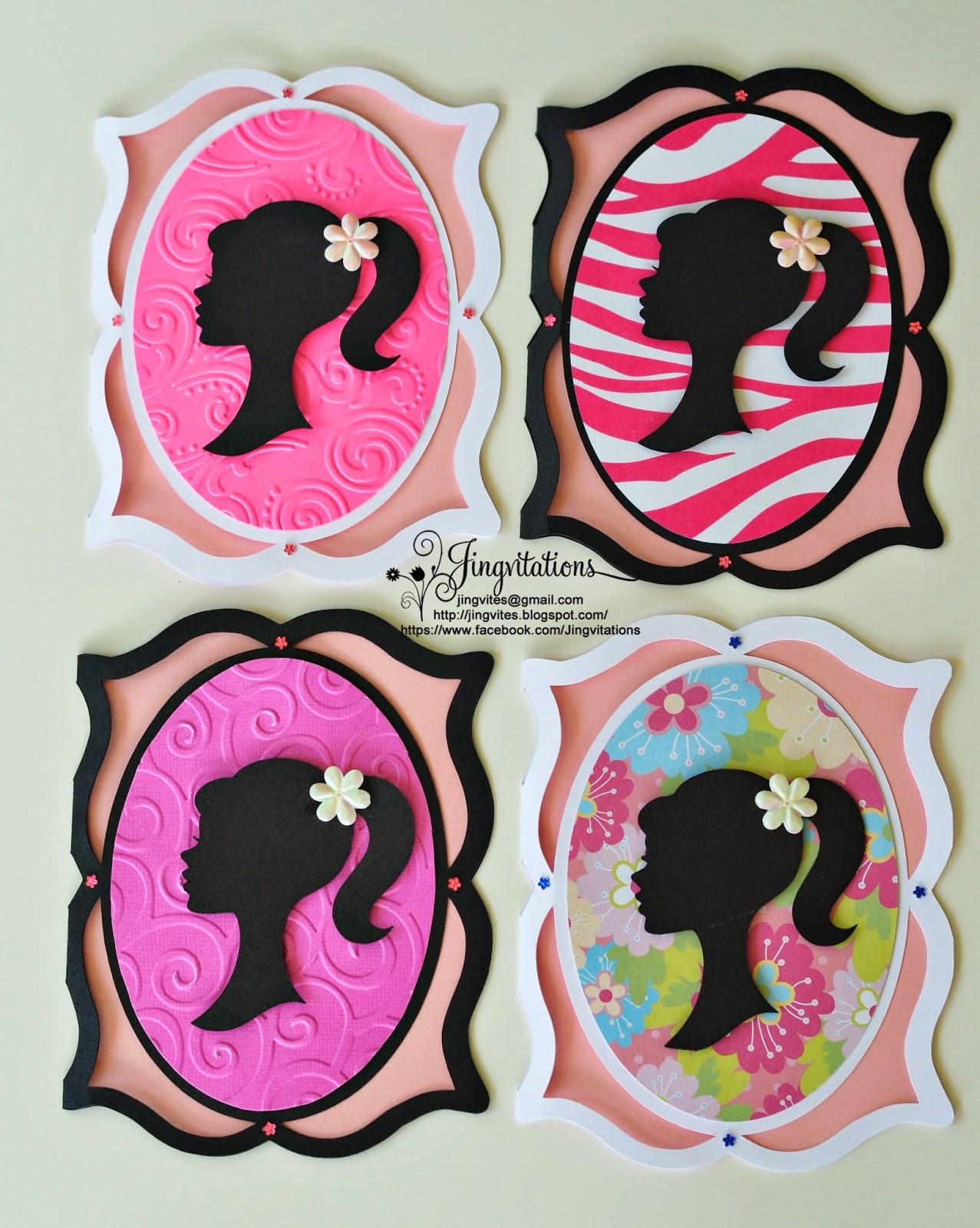 Jingvitations Silhouette Cameo Barbie Cricut Frame Birthday Invitations