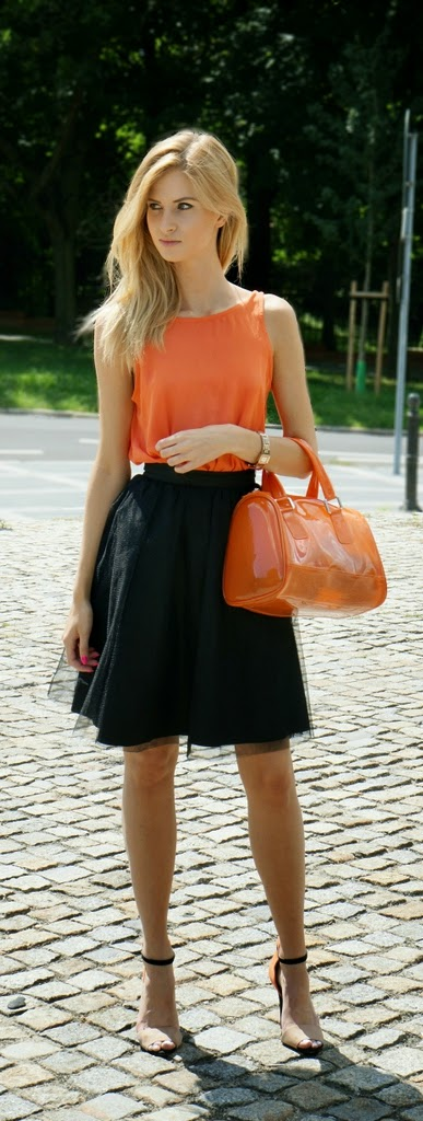 Black Tulle Skirt with Orange Open Back Top and Ankle Strap Heels | Summer Outfits