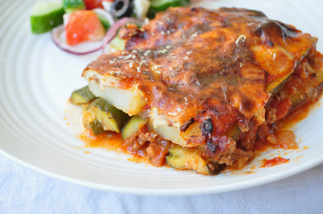 Lamb Moussaka with Courgettes - Potato Added