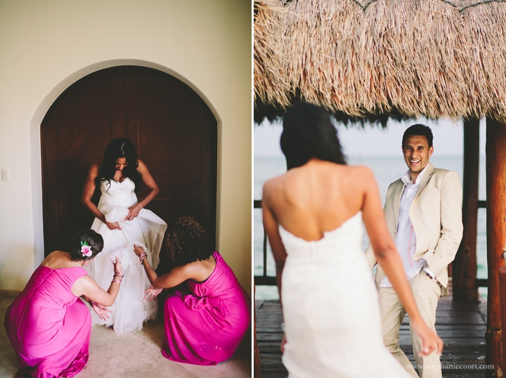 """bride prepping for destination wedding in cancun mexico"""