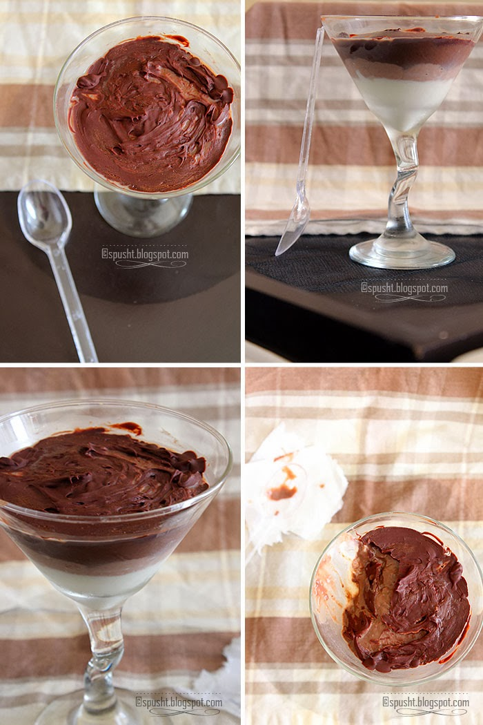 Spusht | Eggless Chocolate and Vanilla Layered Pudding using Cornstarch
