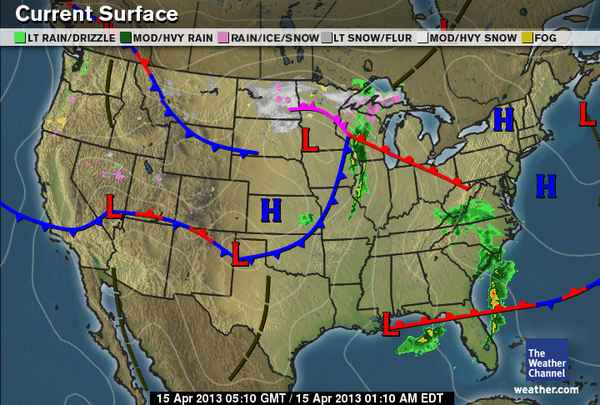 Cold Front On Weather Map.Whether The Weather Weathers Or Wanes April 2013