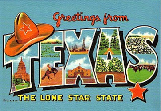 "[image: vintage postcard displaying ""Greetings from Texas, the Lone Star State""  with a cowboy hat hanging on the T and E]"