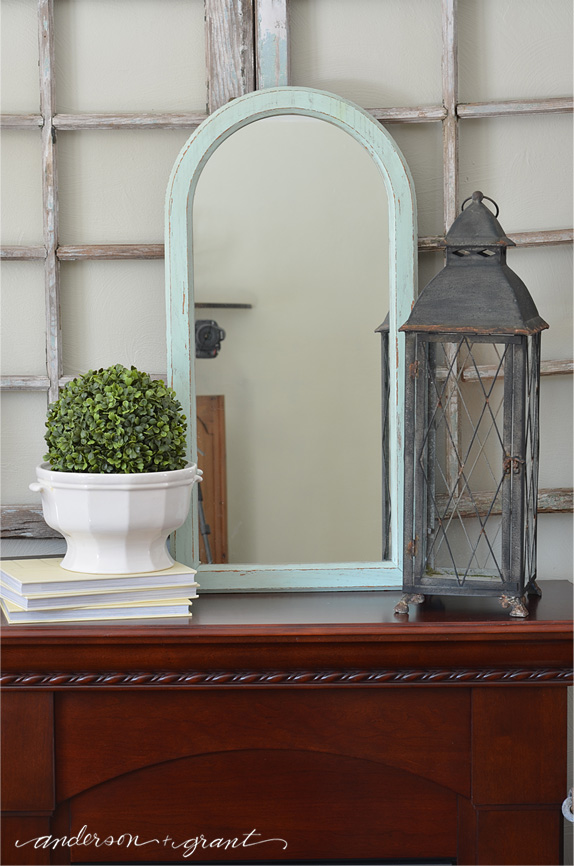 Wood Mirror Painted with Blue Chalk Paint available at www.andersonandgrant.com