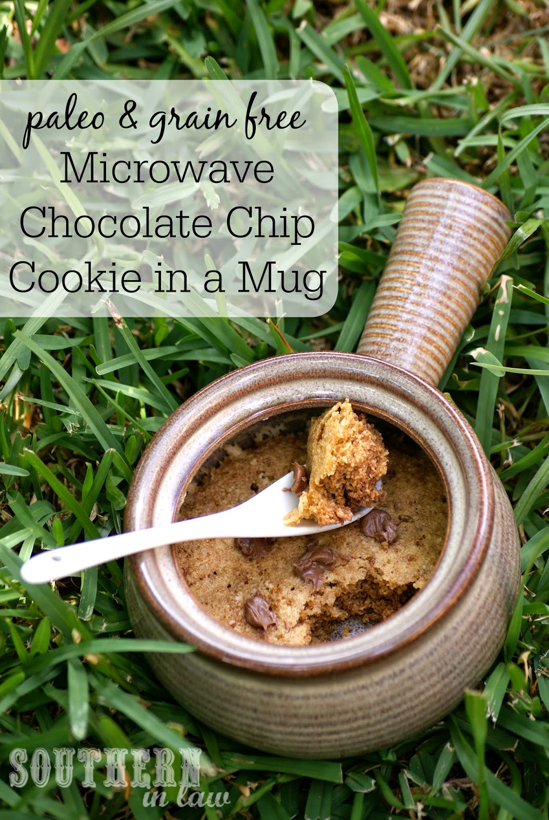 Paleo and Grain Free Microwave Chocolate Chip Cookie in a Mug Recipe - gluten free, grain free, refined sugar free, single serve