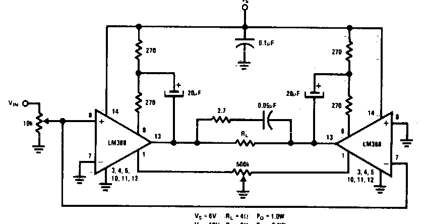 simple bridge amplifier wiring diagram schematic