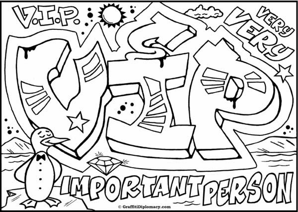 Cool Graffiti Words Coloring Pages