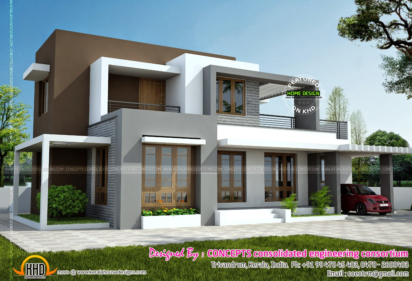 1722 square feet modern flat roof house kerala home for Flat roof elevation
