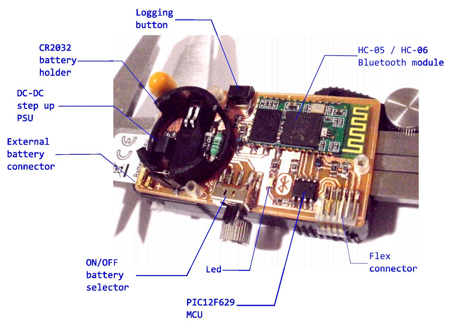 Digital Caliper To Bluetooth Interface Voltblog Circuitdiagramtointerfaceuartwithpic16f877aprimer The Idea Behind This Project Is Build A As Compact Possible Circuit Board Being Capable Of Transmitting Data Stream From Chinese