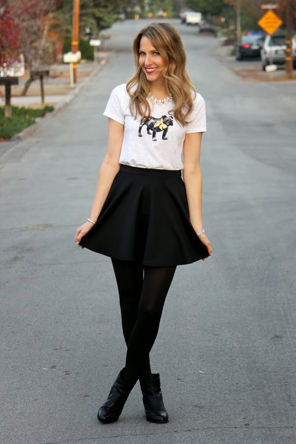 Bulldog tee tucked into a skater skirt