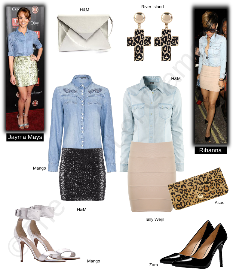 mango denim shirt, h&m denim shirt, tally weijl skirt, h&m sequin skirt, mango silver heels, asos animal print clutch, h&m silver clutch, zara black heels, river island animal print cross earrings, celebrity style, rihanna, jayma mays