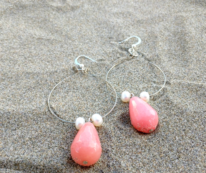 pink and silver diy earrings