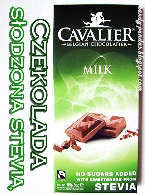 Belgijska czekolada mleczna słodzona stewią - Cavalier