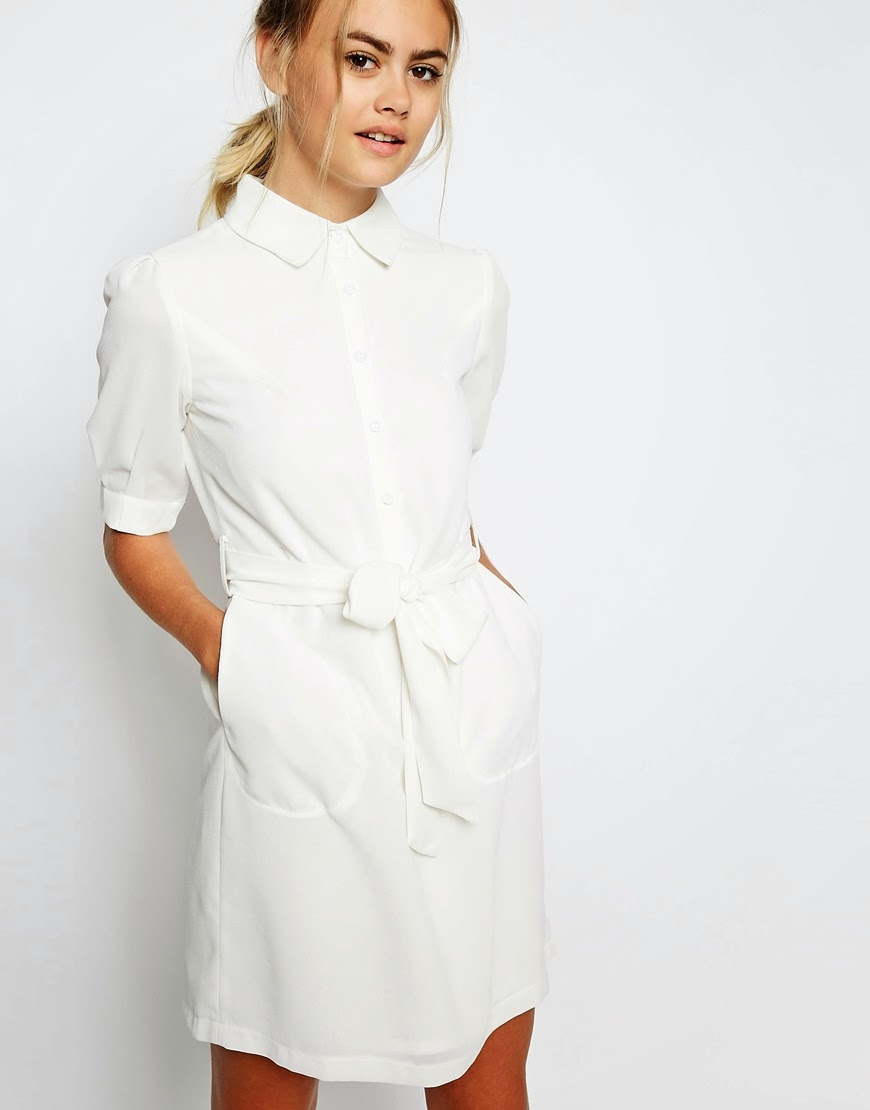 white shirt dress, laden showroom white dress,