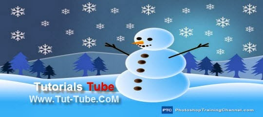 Snowman Holiday Greeting Card Illustration In Photoshop