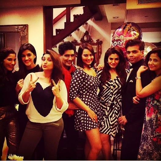 Sonakshi, Parineeti & Karan at Manish M. Birthday party