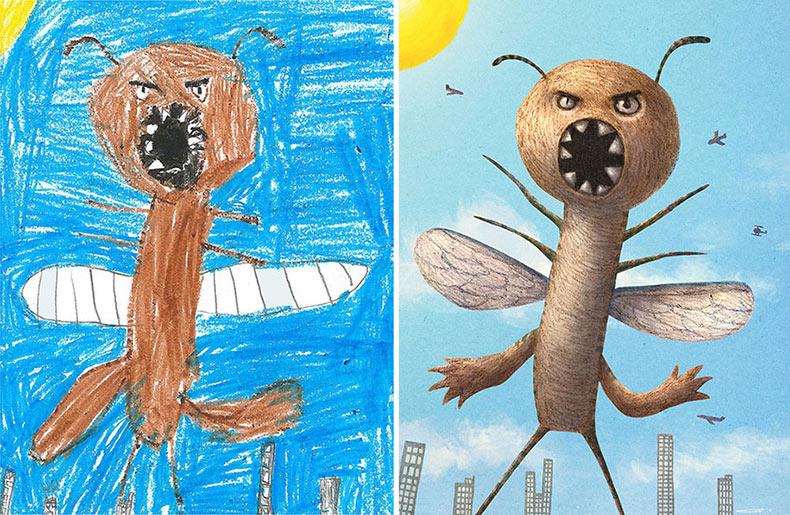 Más de 100 artistas redibujan garabatos de monstruos terroríficos de niños en su propio estilo único