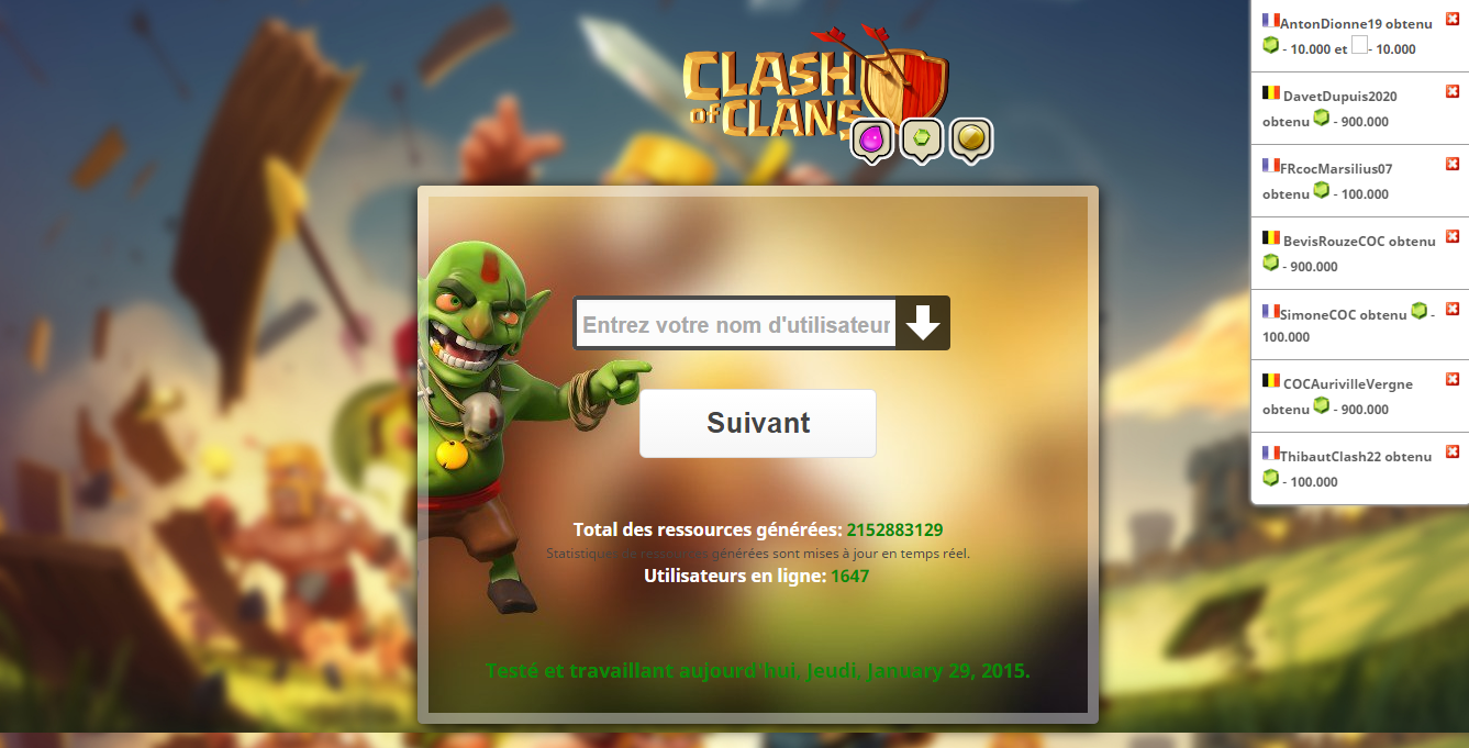 Clash Of Clans Online Generator Script - French Version