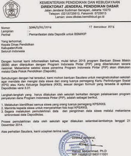 Mekanisme Seleksi Siswa Penerima Program Indonesia Pintar Melalui Dapodik Tahun 2015