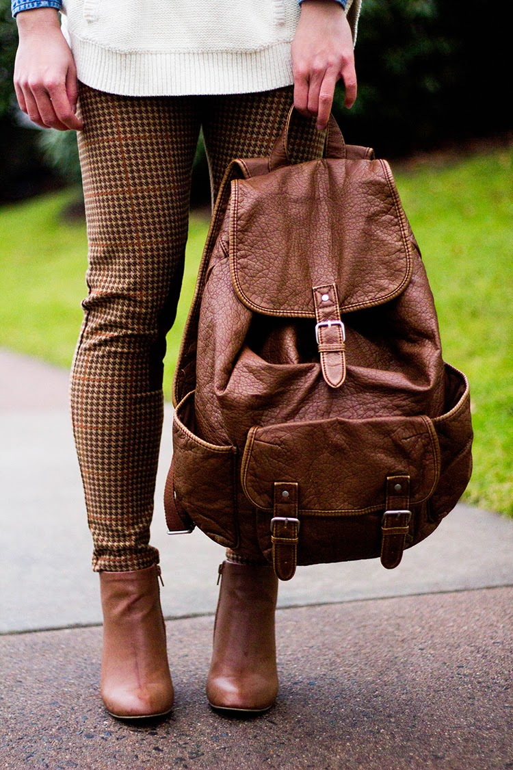 Brown Faux Leather Backpack Faux Leather Backpack