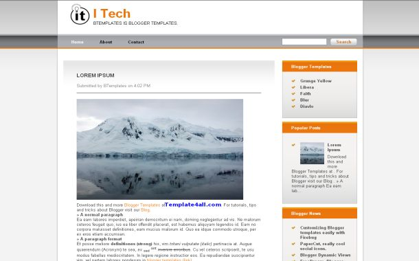 Free Tech Orange Grunge Blogger Jquery Theme Template