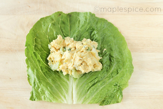 Creamy Curried Potato Salad Lettuce Wraps - vegan.