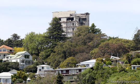 Demolition continues at the old Napier Hospital, Napier Hill, pictured from Ahuriri, Napier. photograph