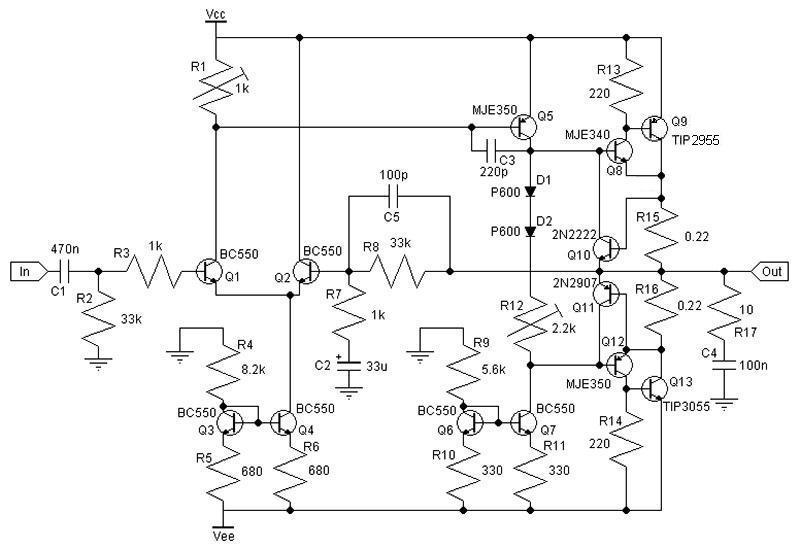 circuitos eletr u00f4nicos   esquema de amplificador classe ab