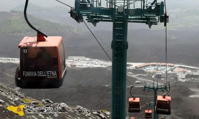 Die Seilbahn auf dem Vulkan Ätna