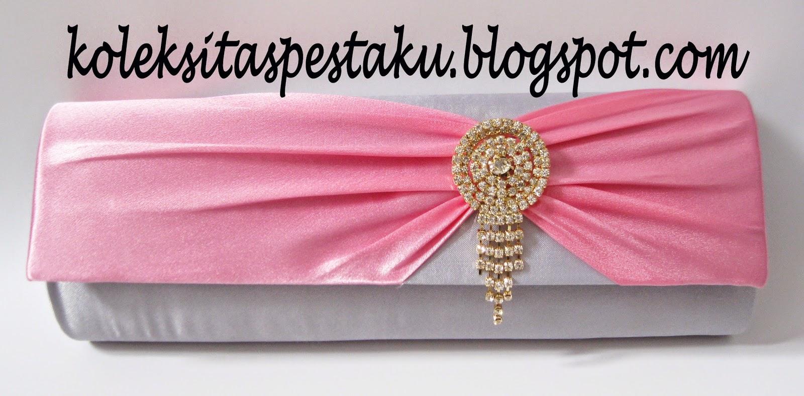 Tas Pesta Warna Silver Abu Muda dengan Pita Pink Ayu Harga Relatif Murah