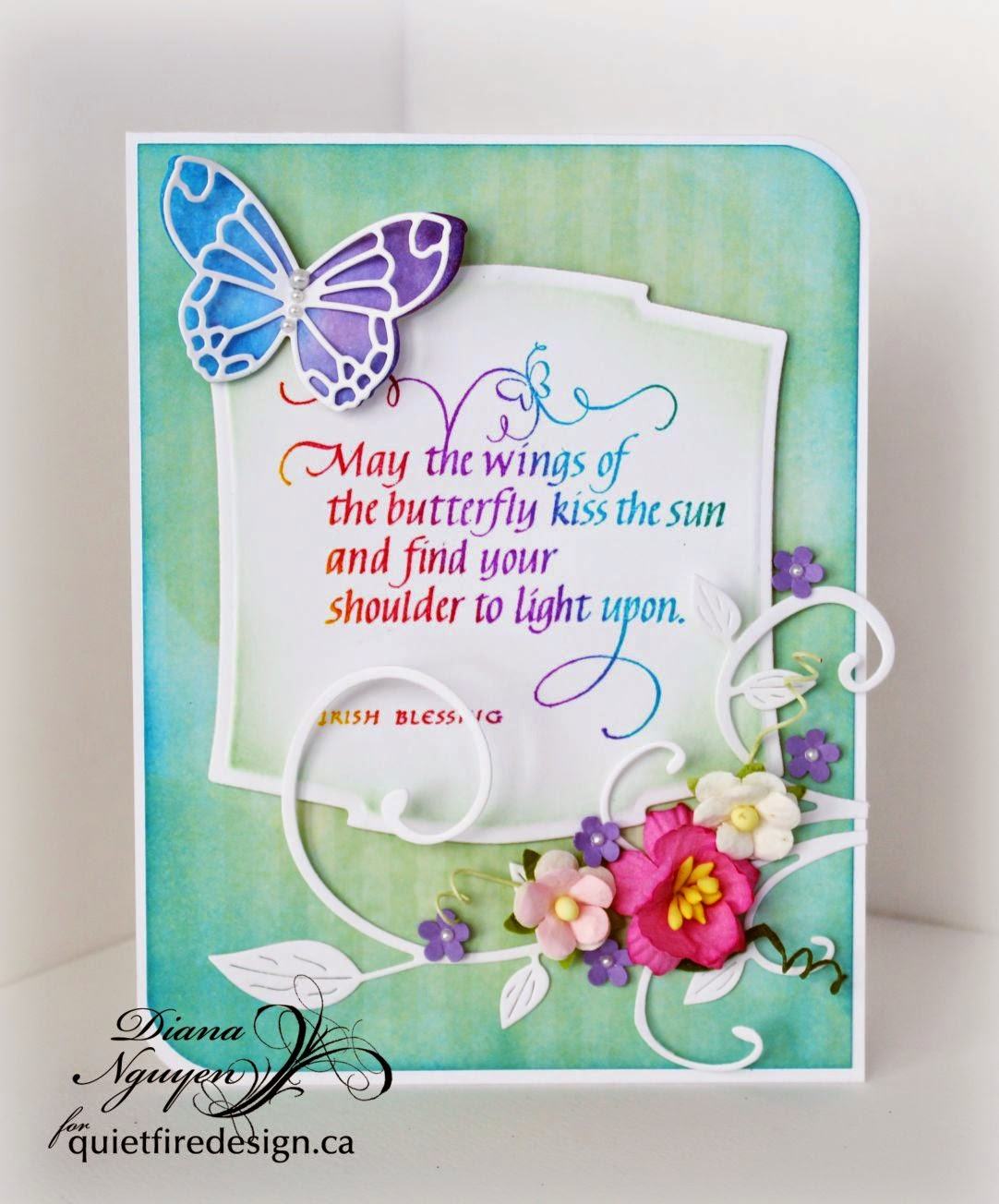 Diana Nguyen, Quietfire, Poppystamps, Spellbinders, Butterfly Circles May the Wings