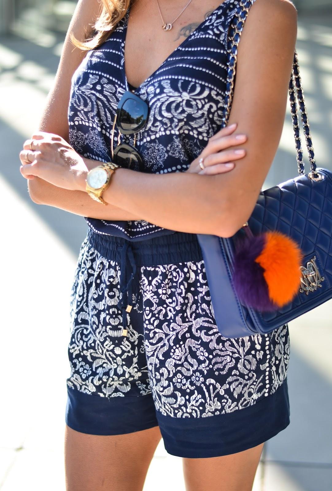 kristjaana mere blue outfit moschino bag prada sunglasses fur bag charm
