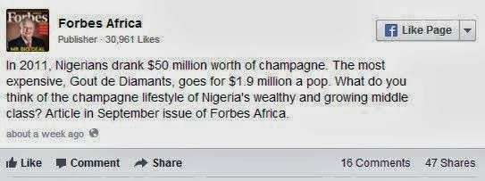 Nigerians Drank $50m Worth of Champagne In 2011- Forbes
