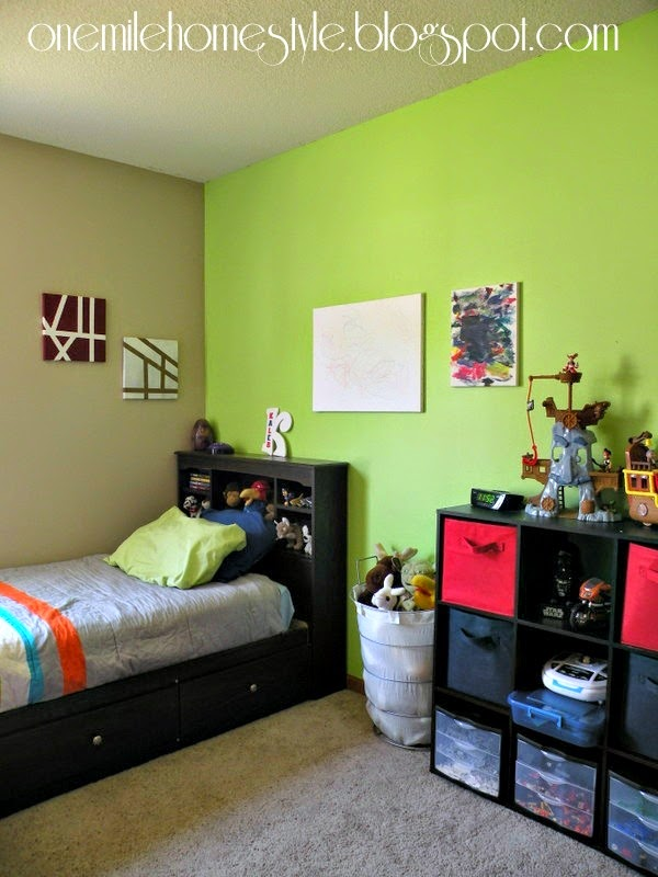 Boy's bedroom with spring green accent wall - after