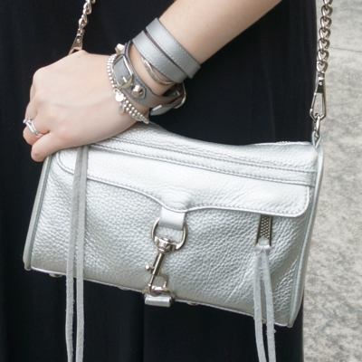 AwayFromTheBlue | Rebecca Minkoff metallic silver mini MAC Balenciaga double wrap bracelet pearly grey