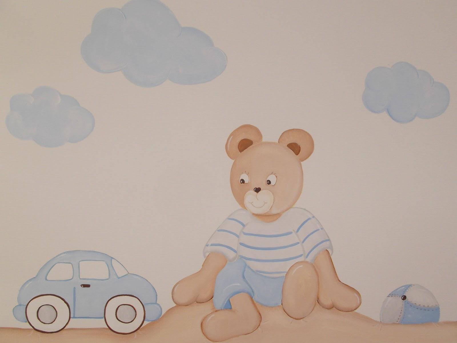 Decoraci n infantil pekerines cuadros beb s ositos jugando al aire libre - Cuadros habitacion nino ...