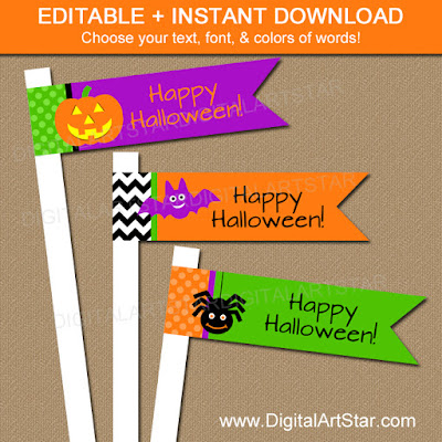 printable halloween straw flags