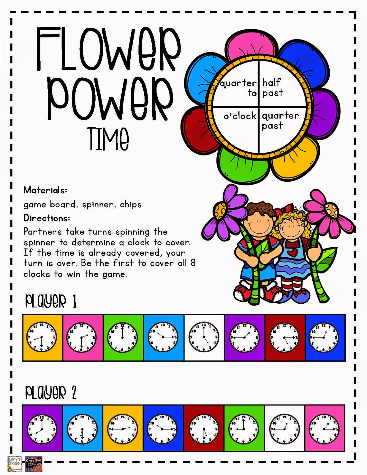 Telling Time Board Games Printables Telling Time Game Boards