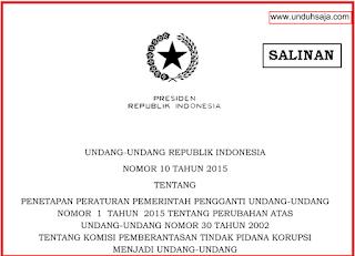 UU No 10 Tahun 2015 tentang KPK