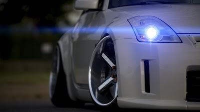 White Nissan 350 Z Front Blue Neon Headlight HD Wallpaper