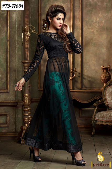 Diwali festival special black color net anarkali salwar suit online shopping at pavitraa.in