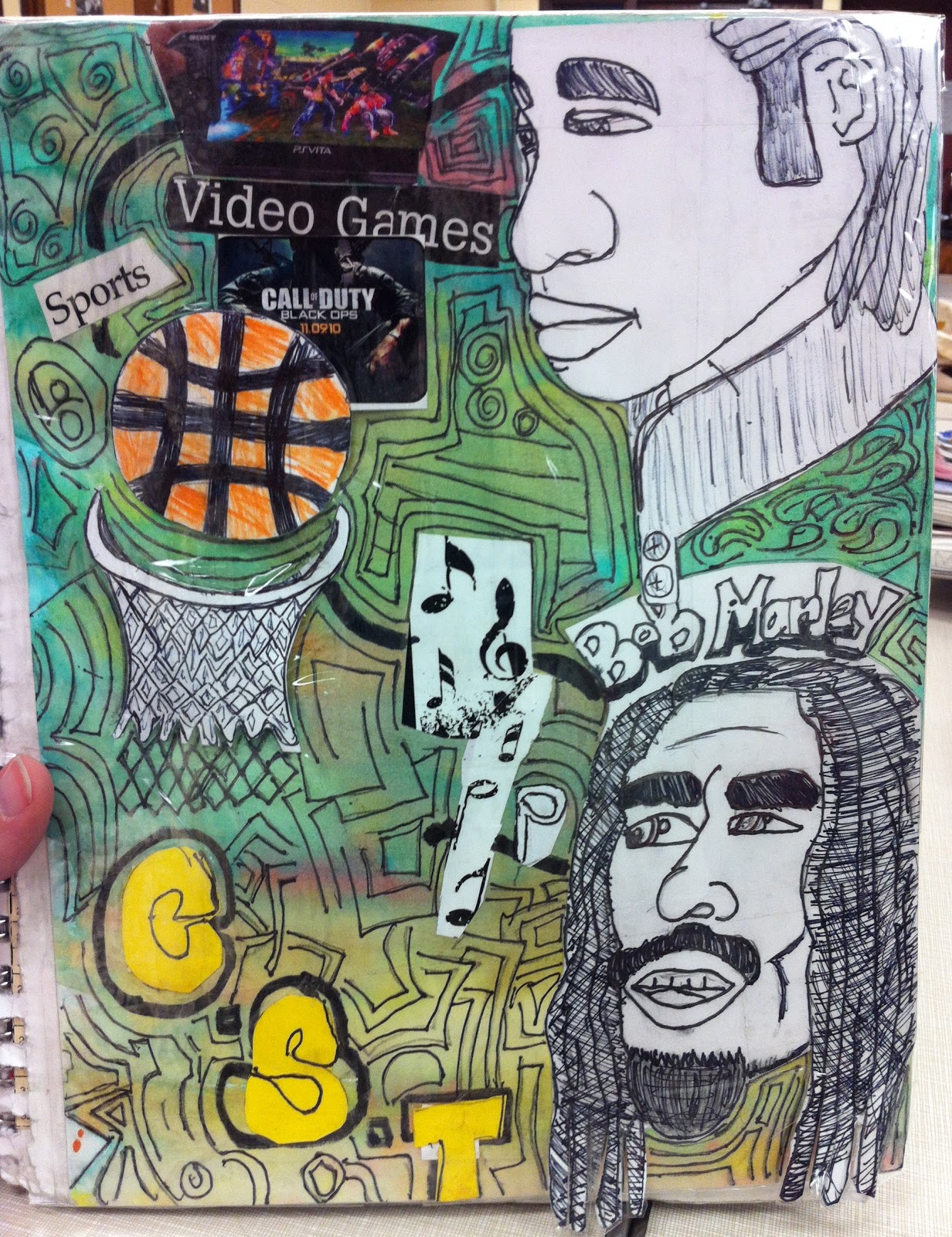 Sketchbook Cover Collage : Project art a day lesson elements and identity