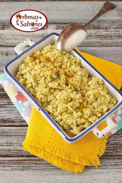 falso arroz feito com couve flor