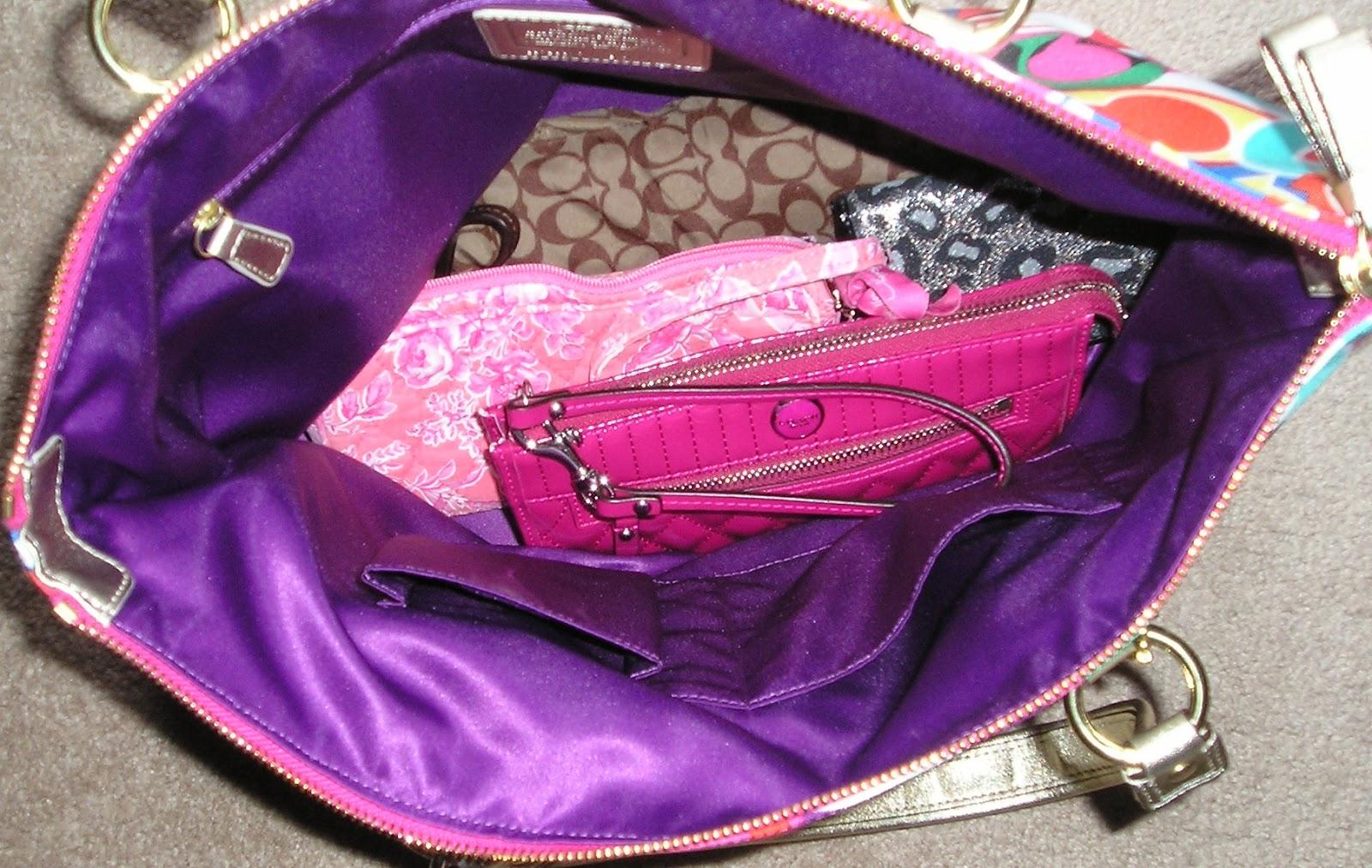 Items In My Bag 1 Liquid Gloss Zip Clutch Has Keys It So Don T Tear Up The Silk Lining 2 Signature Print Umbrella 3 Vera Bradley