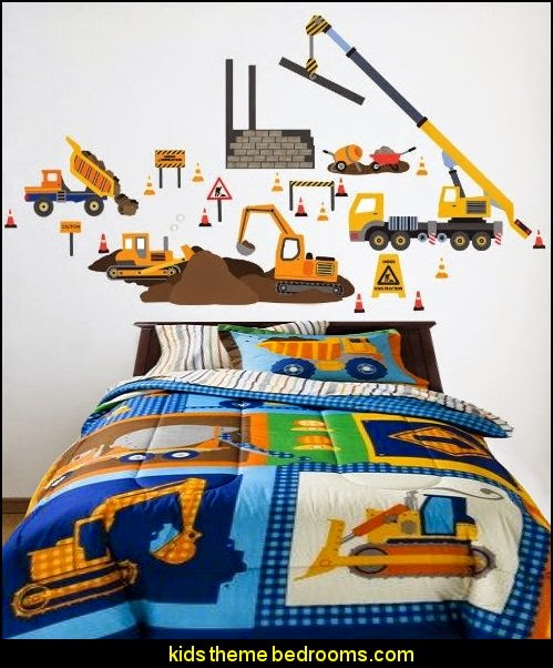Charming Construction Site Wall Decals Build It Bedding Great Pictures