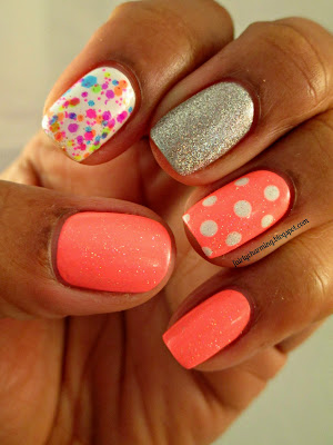 Lush Lacquer Clowning Around, skittle, skittlette, neon, China Glaze Flip Flop Fantasy, polka dot, nails, nail art, nail design, mani