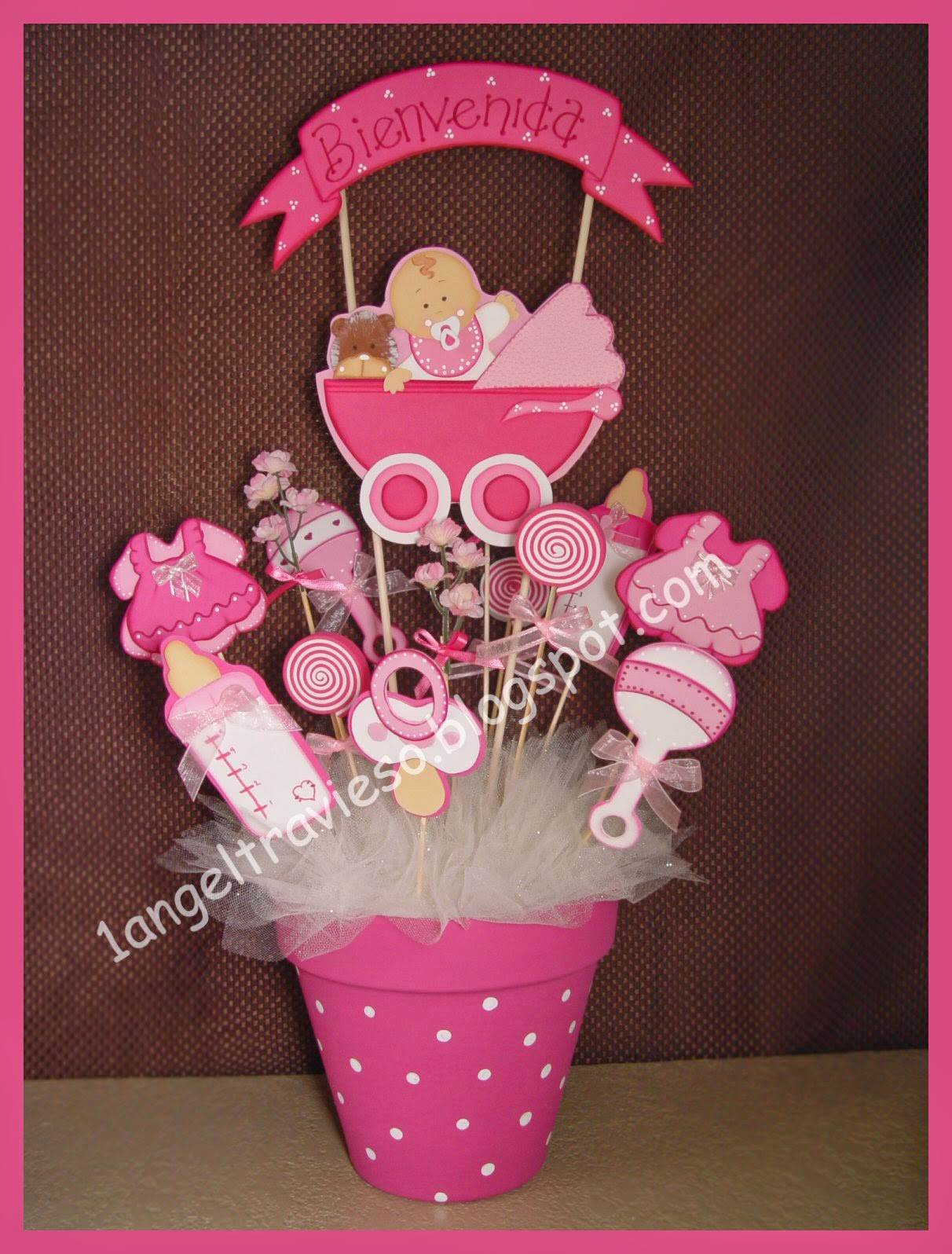 1 angel travieso baby shower for Centro de mesa baby shower