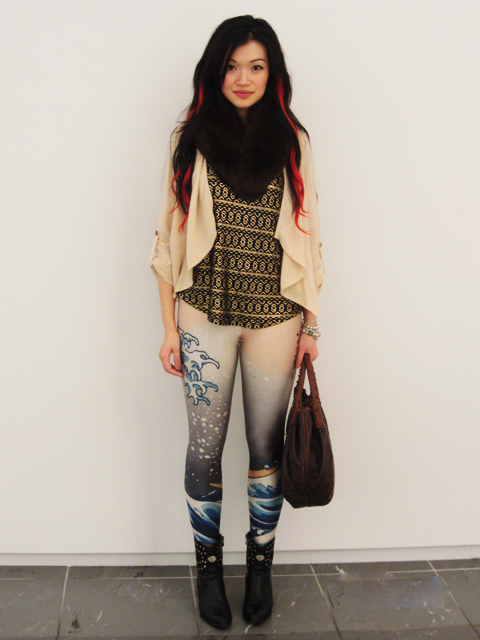 Fur collar, gold coin top, drape jacket, wave leggings from Romwe, Studded boots, Fendi Spy Bag, Outfit, Fashion, Style
